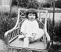 Kid, girl, portrait, wicker chair, garden Fortepan 8079.jpg