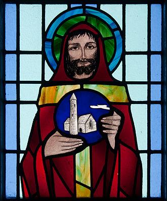 Benignus of Armagh - Image: Kilbennan St. Benin's Church Window St. Benen Detail 2010 09 16