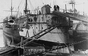 Soviet cruiser Komintern - Komintern under repair in 1923