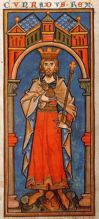 King Conrad III (Cunradus rex) in a 13th-century miniature.