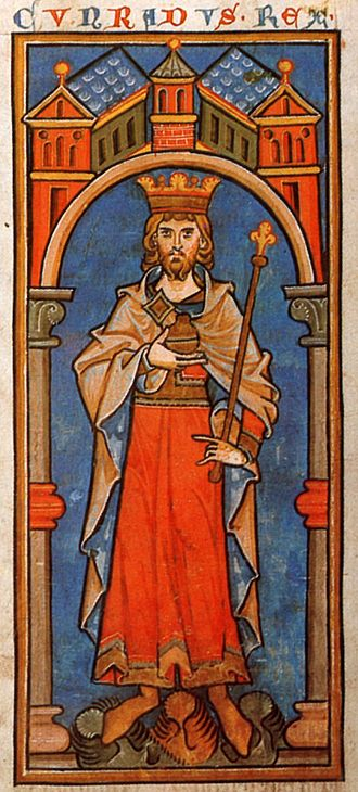 Conrad III of Germany - King Conrad III (Cunradus rex) in a 13th-century miniature from the Chronica sancti Pantaleonis