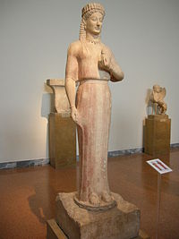 Phrasikleia Kore on display at the National Archaeological Museum of Athens