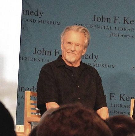 Kristofferson speaking at the 2014 PEN New England Song Lyrics Award ceremony held in Boston's John F. Kennedy Presidential Library and Museum Kris Kristofferson, 2014.jpg