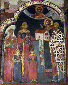 A late medieval fresco depicting the monastery donors Kalevit and Radivoy with his family