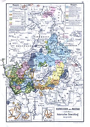 House of Nassau - Electoral Hesse and the Nassau lands in the earl 19th century showing the multiple divisions based on family lines.