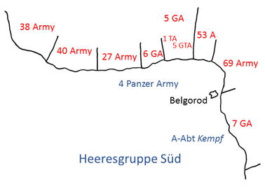 Actual Red Army dispositions on Belgorod front, showing concentrated forces ahead of 4th Panzer Army, 2 August 1943