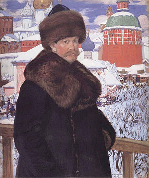 Boris Kustodiev - Self-portrait in front of Troitse-Sergiyeva Lavra, 1912, Uffizi