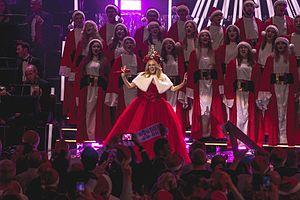 Kylie Christmas - Minogue performing during one of her Kylie Christmas concerts in 2015.