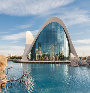 The main entranec of L'Oceanografic in Valencia, Spain as viewed from the side across the water.