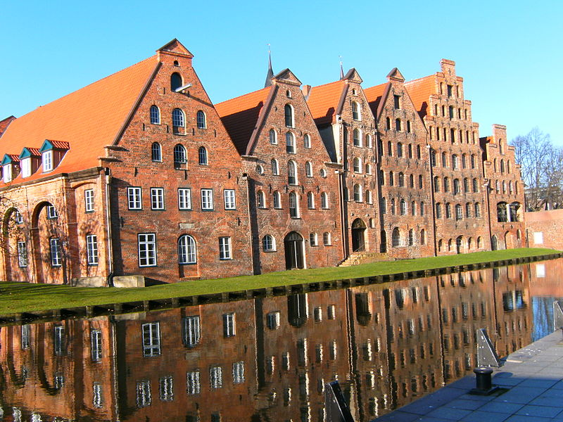 Salzspeicher (former houses to store salt) in Lübeck. Seen from street An der Obertrave. Exploring Germany's Old Salt
