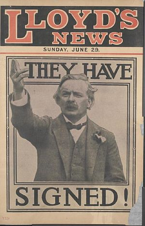Lloyd's Weekly Newspaper - Placard announcing signing of the Treaty of Versailles, Sunday 29 June 1919