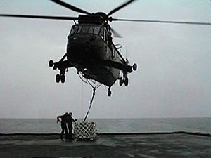 "846 Naval Air Squadron - A Sea King of 846 NAS lifting load during exercise ""Ocean Wave '97""."