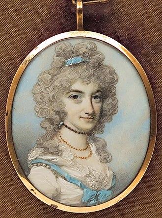 John Fane, 9th Earl of Westmorland - His second wife, Susan, Countess of Westmorland, aka Lady Susan Gordon, aka Lady Susan Woodford, by George Engleheart.