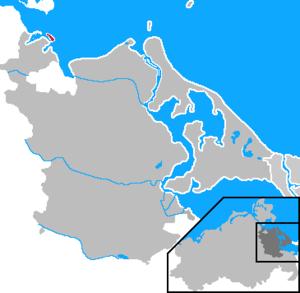Koos - Location of Koos (red) in former Ostvorpommern district, Mecklenburg-Vorpommern
