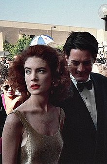 Boyle and Kyle MacLachlan arriving at the 43rd Primetime Emmy Awards in August 1991