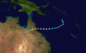 The path of the cyclone crossed the coast near Innisfail