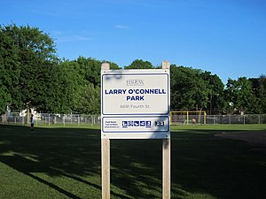 Larry O'Connell Field - Park sign
