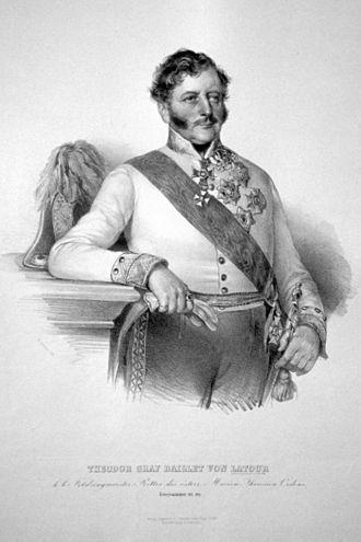 Theodor Franz, Count Baillet von Latour - Lithograph by Josef Kriehuber