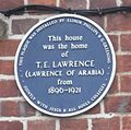 Lawrence blue plaque, Oxford.JPG