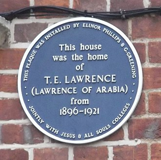 Polstead Road - Image: Lawrence blue plaque, Oxford