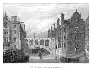 LeKeux - Cambridge, c1840 - St John's 03, Bridge of Sighs - memorialsofcambr01wriguoft 0190.jpg