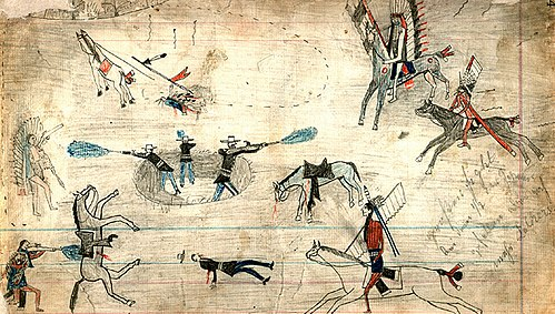 A Kiowa ledger drawing possibly depicting the Buffalo Wallow battle in 1874, a fight between Southern Plains Indians and the U.S. Army during the Red River War. - Kiowa