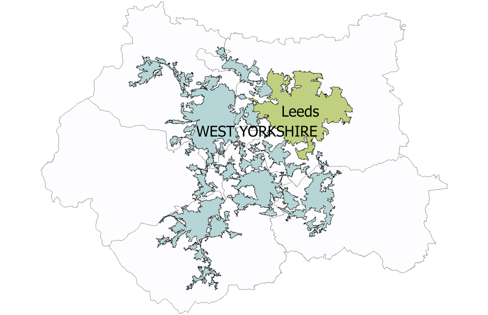Leeds urban subdivision shown within the West Yorkshire urban area