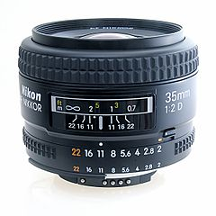 The picture shows a lens set to f/22 and with the infinity mark placed level with the left-hand marker for f/22. The hyperfocal distance is shown above the middle white marker. The distance shown above the right-hand marker for f/22 is the near-focus point.