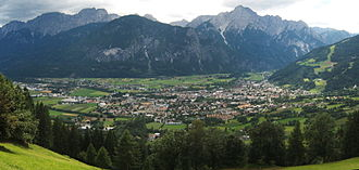 Lienz - Lienz in the Drava valley, view from the north, in August 2005