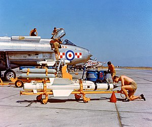 No. 56 Squadron RAF - Loading Firestreak missiles onto Lightning F1A at Akrotiri, 1963