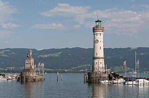 "Lindau Lighthouse - The lighthouse together with the ""Bavarian Lion"""