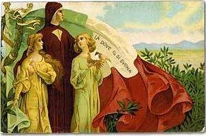 Illustrazione di inizio secolo XX celebrante la lingua del sì con l'immagine di Dante e la sua famosa frase sovrapposta al tricolore