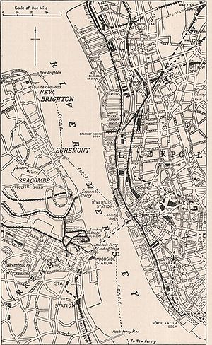 Mersey Ferry - Map from 1911 Encyclopædia Britannica, showing ferry routes