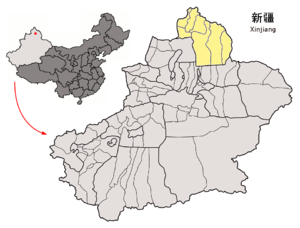 Location of Altay Prefecture within Xinjiang (China).png
