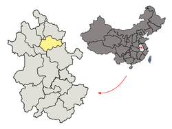 Location of Bengbu City jurisdiction in Anhui
