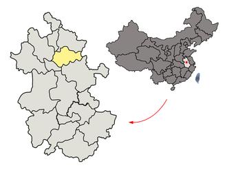 Bengbu - Image: Location of Bengbu Prefecture within Anhui (China)