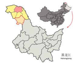 Tahe County (red) in Da Hinggan Ling Prefecture (yellow) and Heilongjiang