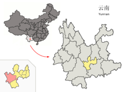Location of Xinping County (pink) and Yuxi Prefecture (yellow) within Yunnan province of China