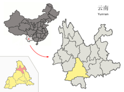 Location of Zhenyuan County (pink) and Pu'er Prefecture (yellow) within Yunnan province of China