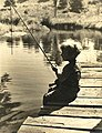Lois Duncan, daugter of Joseph Steinmetz fishing in Pennsylvania.jpg