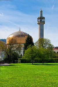 London Central Mosque, Regent's Park. A prominent Islamic landmark in the capital city.
