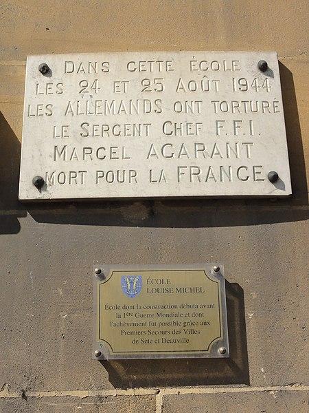 Longuyon (Meurthe-et-M.) école, plaque commémorative Marcel Agarant, 1944