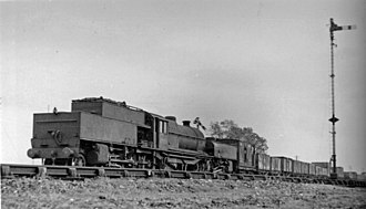 LMS Garratt - No. 47999, with straight sided bunkers, approaching Loughborough 6 October 1950.