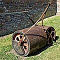 Loughton Cricket Club cricket pitch rollers, at Loughton, Essex, England 02.jpg