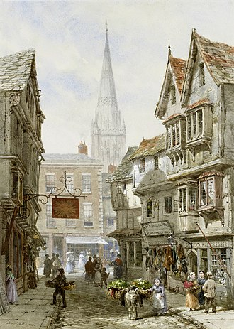 Salisbury - A picture of Minster Street, c. 1870