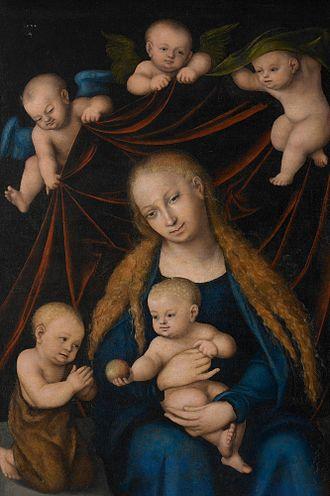 Heckscher Museum of Art - Image: Lucas Cranach d.Ä. Die Jungfrau mit Kind (Heckscher Museum of Art)