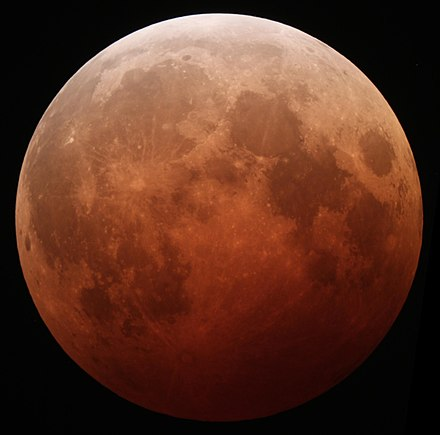 The Moon, tinted reddish, during a lunar eclipse Lunar eclipse October 8 2014 California Alfredo Garcia Jr mideclipse.JPG