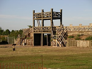 Limes Britannicus - Midlands: Reconstruction of the main gate of the wood and earth camp of Lunt