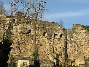 Bock (Luxembourg) - The Bock cliff with loop-holes for the cannons