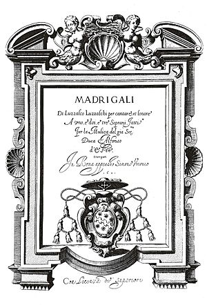 Concerto delle donne - Title page of Luzzaschi's Madrigali a uno, e'doi, e'tre' soprani, showing Verovi's mark and acknowledgement of Alfonso.